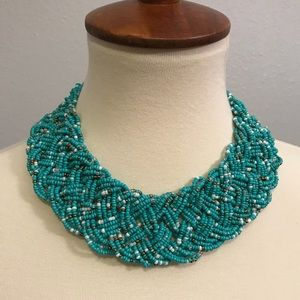 Turquoise beaded statement bib necklace
